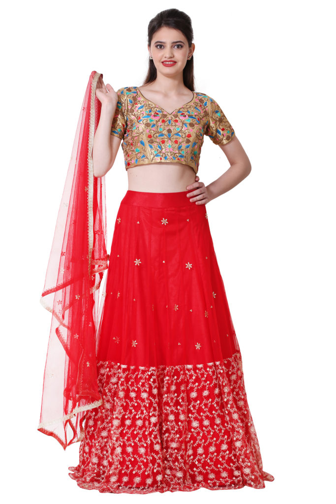Pretty light weight Red Lehenga with golden embroidered blouse and net Dupatta.