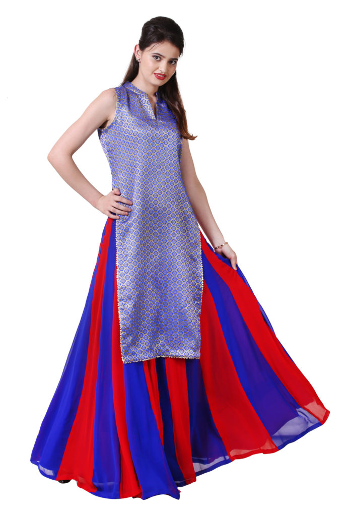 Bright blue brocade long kameez with red and blue flared skirt.