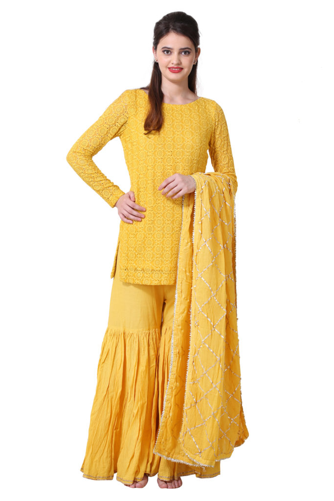 Yellow Sharara Set with Full Sleeves Shirt and Dupatta.
