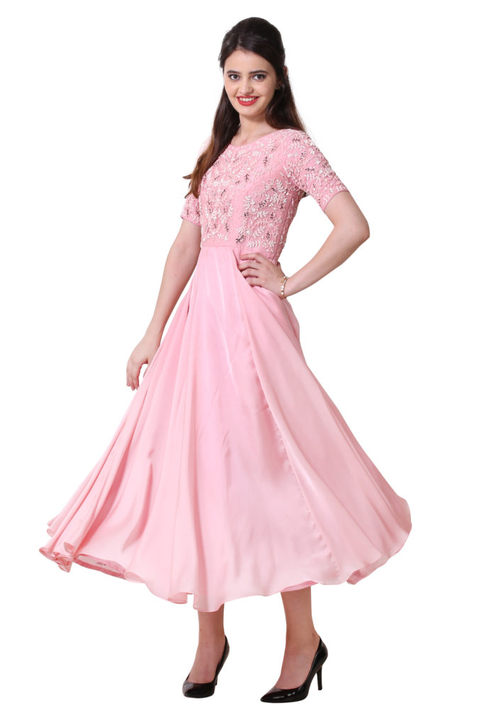 Powder Pink dress with Intricate Embroidery, in satin Georgette.