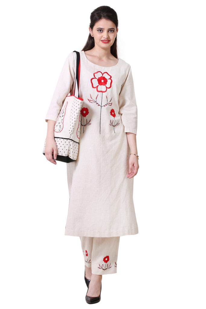 Off White Color Suit with Beautiful Embroidery