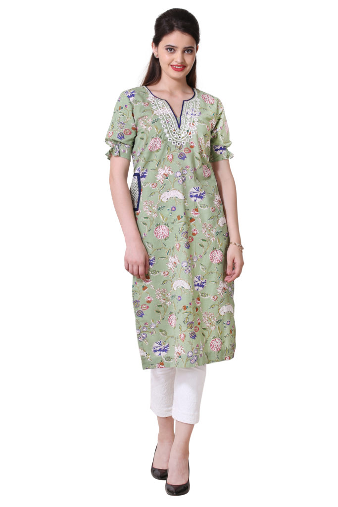 Designer kurti with mirror work and pockets