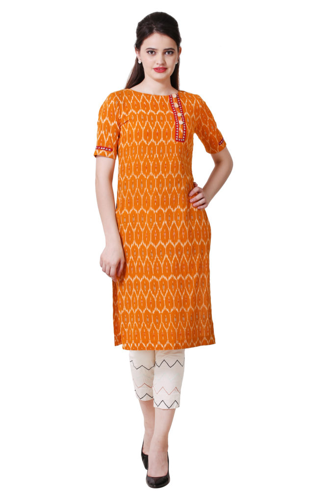 Mustard Ikkat kurti with side button style.