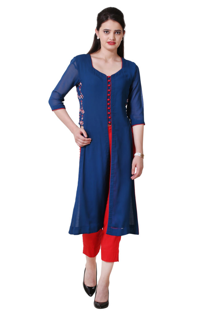 Blue jacket style kurta with embroidery on side panels.