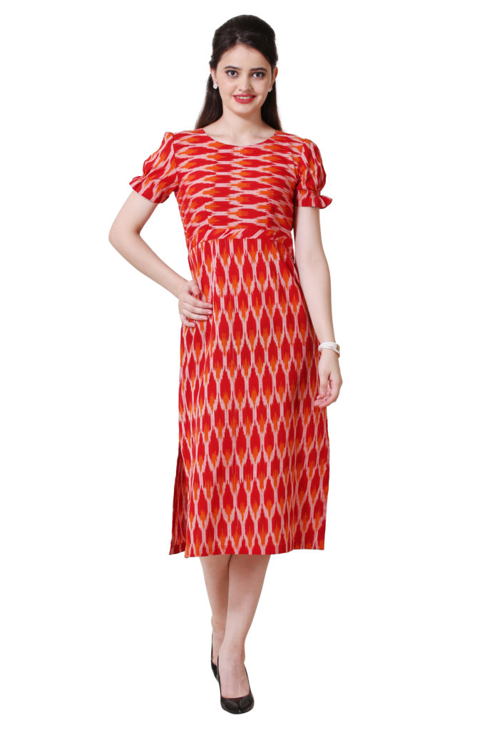 Red Ikkat dress with puff sleeves and side slits