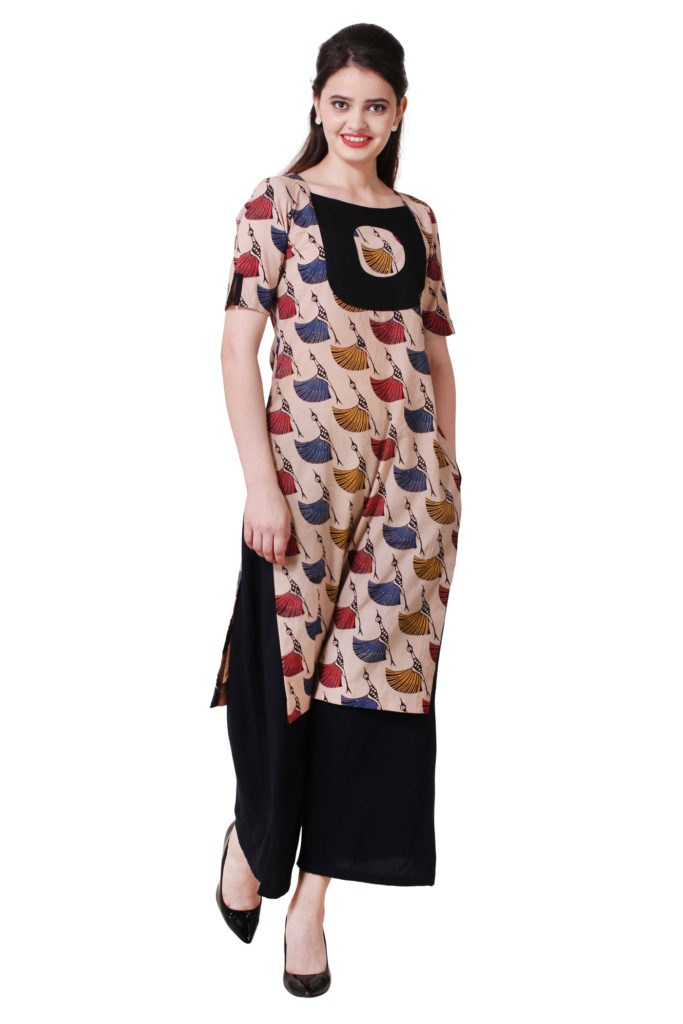 Designer kurti with yoke.