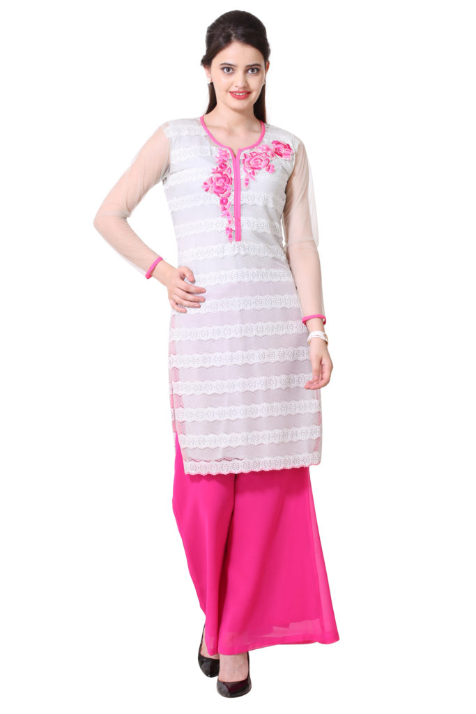 Silver net kurti with pink floral embroidery and matching plazzo.