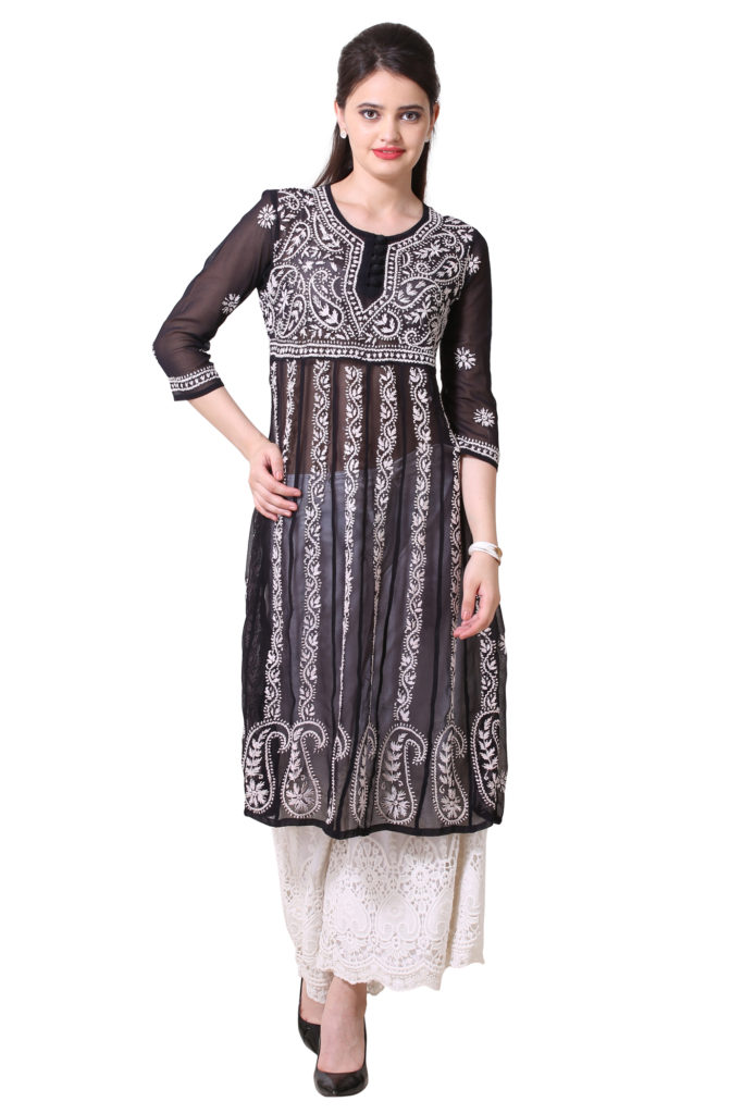 Black and White lucknowi kurta with white embroidered plazzo.